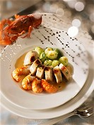 Crabmeat sausage with freshwater crayfish and courgettes