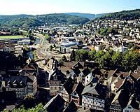 Germany, Dillenburg, Dill, Dill Valley, Dietzhoelze, Nanzenbach, Westerwald, Hesse, city view, town view, panorama, panoramic view from the castle hil...