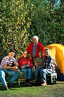 Three generational family camping Southcentral Alaska summer scenic