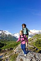 Family viewing scenery on Portage Pass Summit w/Portage Glacier Chugach Mtns & National Forest Southcentral Alaska Summer