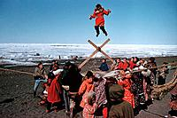 Alaska Native Inupiat Eskimos doing the Blanket Toss to celebrate the passing of the whale Nulaktuk Barrow Alaska