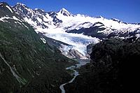 Aerial of Billings Glacier Front View Chugach Mtns PWS SC AK Summer