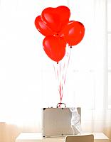 Briefcase with heart shaped balloons and bra