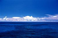 the Deep Blue Ocean Under a Blue Sky and Some Clouds, Bahamas, North America
