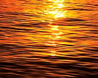 Water Surface and Sunset, High Angle View, Pan Focus