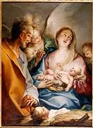 Ü Kunst, Stella, Jacques 1596 _ 1657 Gemälde Hl. Nacht, Pommersfelden heilig, heilige, familie, geburt, christi, christus, jesus, religion, maria, hei...