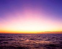 the Ocean in the Evening, the Horizon Orange From the Setting Sun, Front View, Copy Space