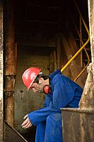 A worker thinking