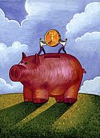 Two men putting a large gold coin into a giant piggy bank