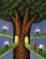Business people walking down from different pathways towards trunk of tree