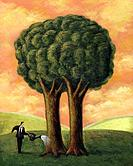 Businessman watering a tree with two trunks (thumbnail)