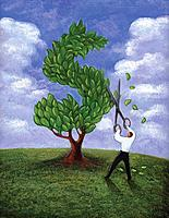 Businessman cutting and shaping a tree to a dollar sign (thumbnail)