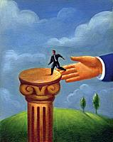 A giant human hand guiding a tiny businessman onto a pedestal