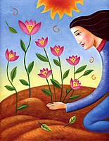 Profile of a woman planting flowers