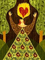 A woman in a forest, breathing fire with heart_shape in it