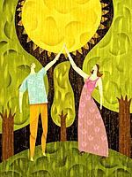 Couple in a forest, touching the sun (thumbnail)