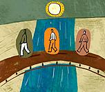 Three men crossing a bridge over a river