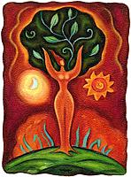 A woman with her body as a tree trunk and her arms as branches