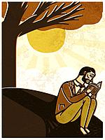 A man reading a book, with a tree nearby