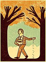A man planting seeds near two trees (thumbnail)