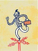 Businessman carrying a briefcase while standing on a weathervane