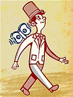 Drawing of a businessman as windup toy (thumbnail)