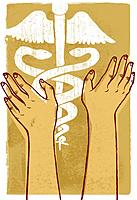 Two human hands touching a caduceus