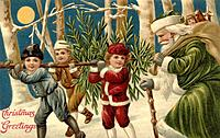 Vintage Christmas postcard with children carrying a tree, while Santa Claus looks on