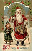 Vintage Christmas postcard of Santa Claus walking with a little girl as he carries a Christmas tree over his shoulder