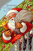 Vintage Christmas postcard of Santa Claus ringing a bell while carrying a sack of presents (thumbnail)