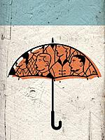 An umbrella with peoples faces on it (thumbnail)