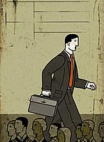 A tall businessman walking above a crowd (thumbnail)