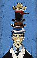 A man wearing several hats atop one another (thumbnail)