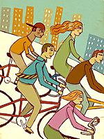 Five people riding their bikes in the city