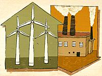Wind turbines and smoke stacks