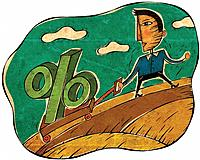 A man pulling a wagon with a percentage sign on it (thumbnail)