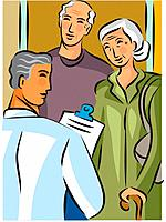 Doctor holding a clipboard and talking to an elderly couple