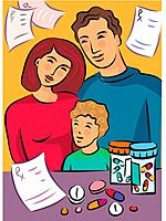 A family standing near medicines with prescriptions in the background