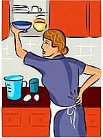Woman holding her back while putting dishes away in the cupboard
