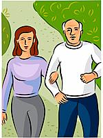An elderly couple walking hand in hand along a path in the park