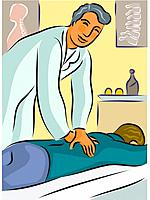 A physical therapist massaging a patients back