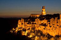 Italy, Tuscany, Pitigliano at night