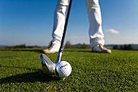 Golf, Golfing, sports, Handicap, golf club, woman, cap, golf ball, green, standing, stroke, strike, striking, detail,
