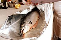 Wrapping Whole Salmon for Baking