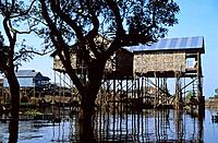 Traditional stilt house in the village of Kompong Phhluc on Tonle Sap lake, near Siem Reap, Cambodia