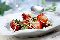 Large strawberries with vinegar syrup and ginger