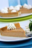 Pumkin pie portion with whipped cream