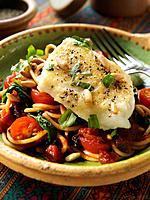 Baked Cod Spaghetti