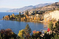 Fall colours on Okanagan Lake, Naramata, British Columbia, Canada.