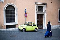 Original Fiat 500 in the old Rome, Rome. Italy